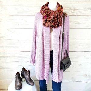 Loft pretty open front sweater creamy lilac color